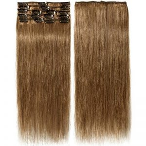 Extension a Clips Cheveux Naturel Volume Fine - 8 Bandes 100% Remy Human Hair Extensions Clip in (#06 Châtain clair, 45cm-70g) de la marque Rich Choices image 0 produit