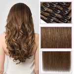 Extension Cheveux Naturel a Clip Chatain Clair #06 Châtain clair - Volume Moyen 8 Pcs - 100% Human Hair Extensions Clip in Remy 33cm-80g de la marque Rich Choices image 1 produit